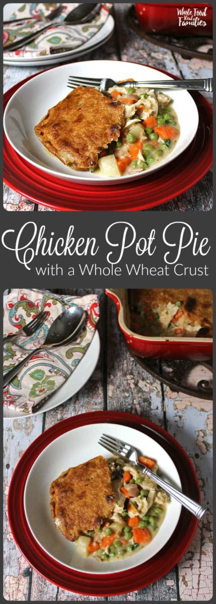 Looking for a Creamy Chicken Pot Pie recipe that isn't full of refined flour? This Chicken Pot Pie with a Whole Wheat Crust  has been updated to be a little healthier. But it tastes more like comfort food than anything else that comes out of my kitchen. Double the recipe for an easy freezer meal!