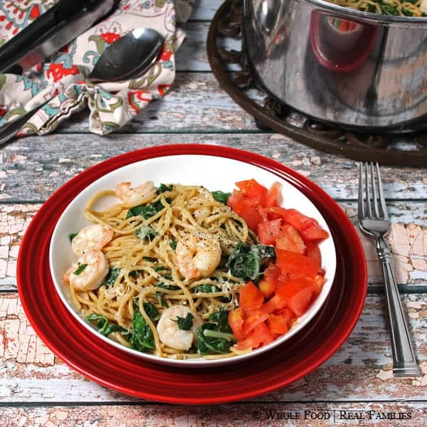 Garlicy Pasta with Sauteed Shrimp and Chard from Whole Food | Real Families