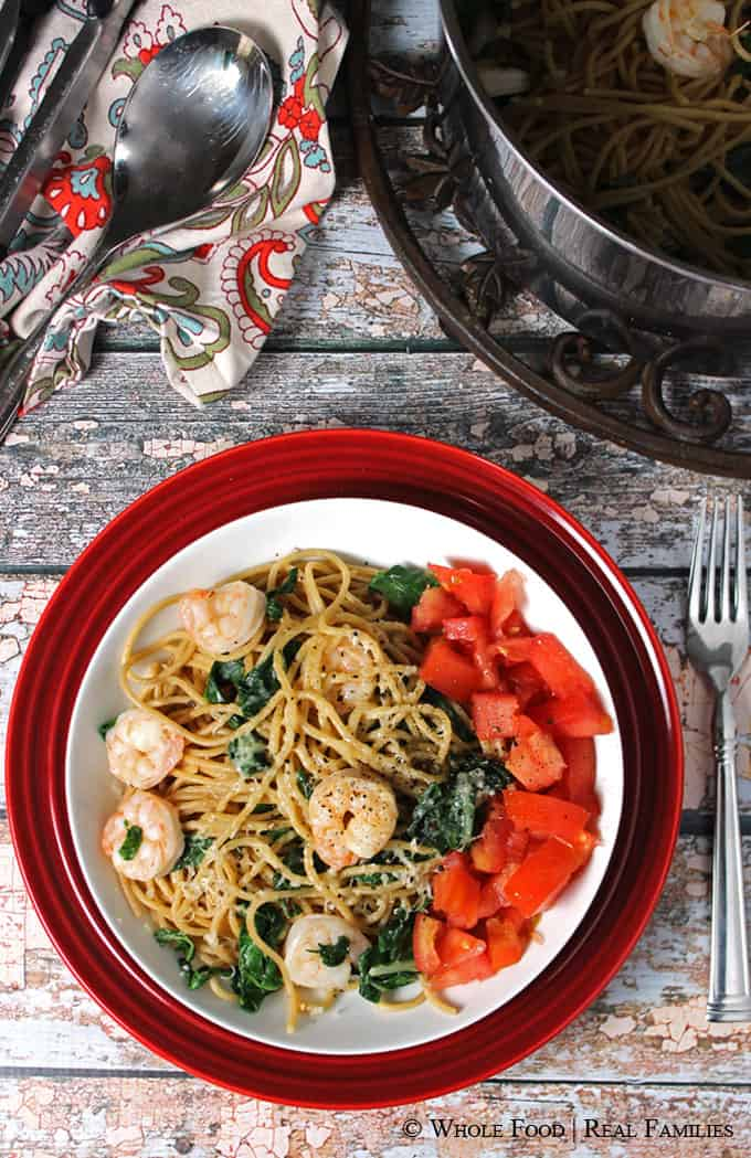 Garlicy Pasta with Sauteed Shrimp and Chard