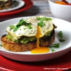 Avocado Crostini with Beef and Eggs