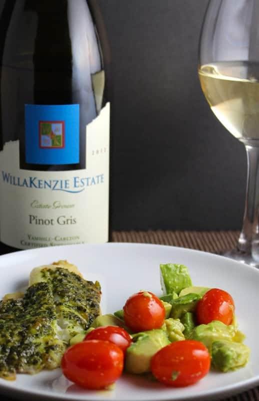 Pinot Gris Wine Pairing Tilapia with Classic Pesto