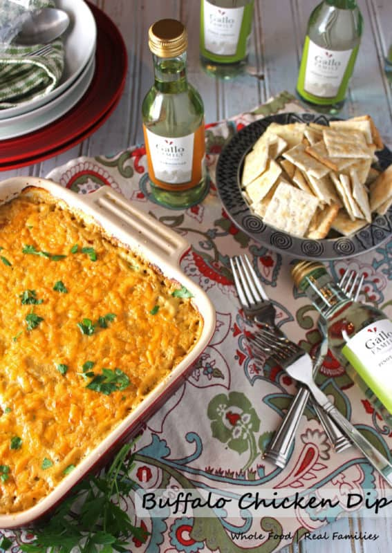 Buffalo Chicken Dip is a perfect recipe for your tailgating party! Delicious served as an appetizer or snack with crackers, chips or crusty bread! #SundaySupper