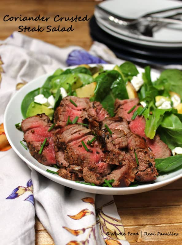 Coriander Crusted Steak Salad is flavorful and cooks and assembles quickly. Perfect with steak from the grill or use up leftover steak from previous meals.