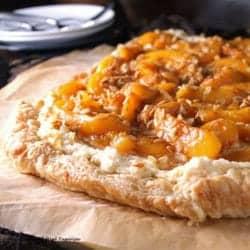 Peach Maple Mascarpone Dessert Pizza