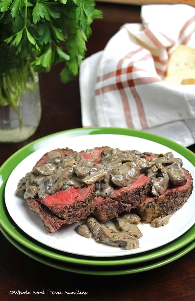 Peppercorn Beef Tenderloin Roast with Mushroom Cream Sauce