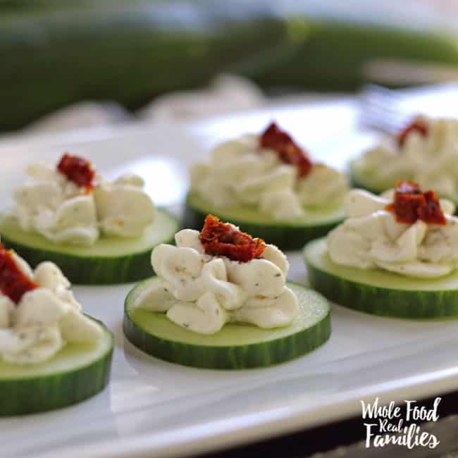 Cucumber Bites with Sundried Tomato Ribbons