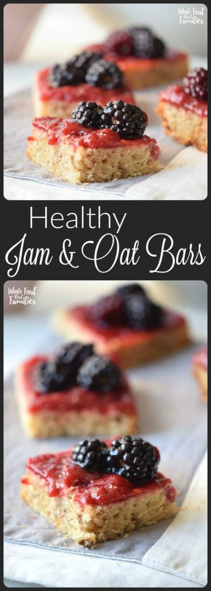 Jam and Oat Bars never last long! They are a perfect healthy quick snack or even breakfast. Equally awesome is that they only take a second to whip up and pop in the oven! Try them with your favorite nut butter instead of jam as an alternative! It is a totally different flavor and oh so good!