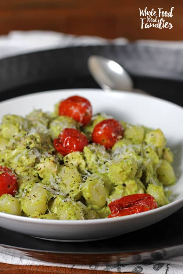 Creamy Pesto Gnocchi with Roasted Tomatoes